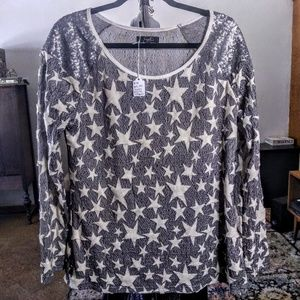 Star Pattern Sequin Long Sleeve Top